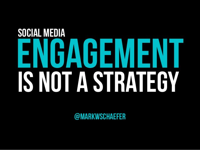 ENGAGEMENT @marKWschaefer IS NOT A STRATEGY Social Media