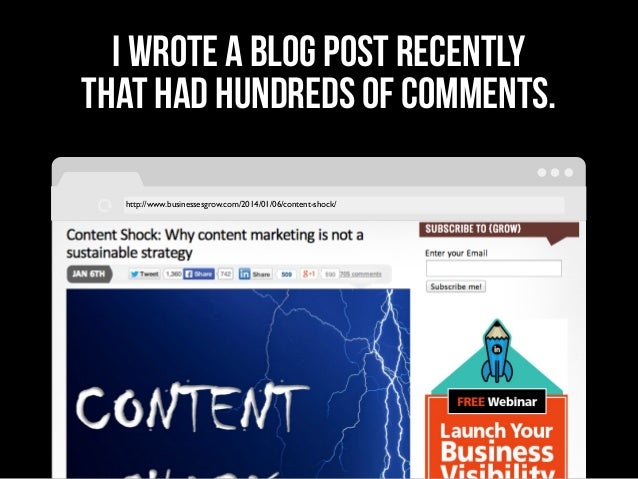 http://www.businessesgrow.com/2014/01/06/content-shock/ I wrote a blog post recently that had hundreds of comments.