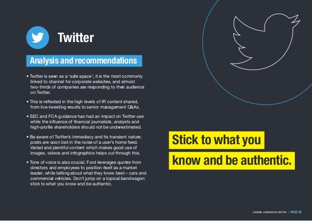   PAGE 28CHANNEL COMPARISON: TWITTER Twitter Analysis and recommendations Stick to what you know and be authentic. • Twitt...