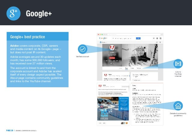 PAGE 39   CHANNEL COMPARISON: GOOGLE+ Google+ PAGE 39   http://www.google.com/ Adobe covers corporate, CSR, careers and me...