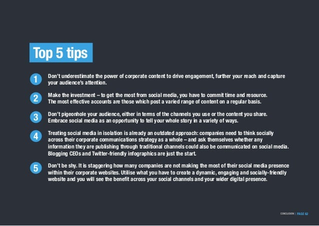 Top 5 tips Don't underestimate the power of corporate content to drive engagement, further your reach and capture your aud...