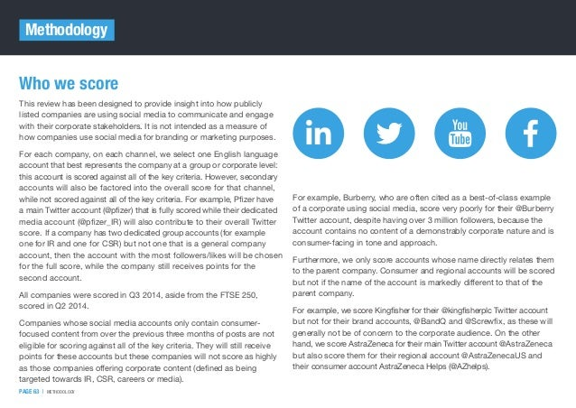 Who we score This review has been designed to provide insight into how publicly listed companies are using social media to...