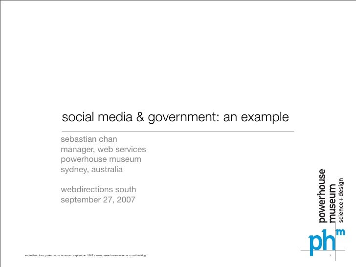 social media & government: an example                         sebastian chan                         manager, web services...