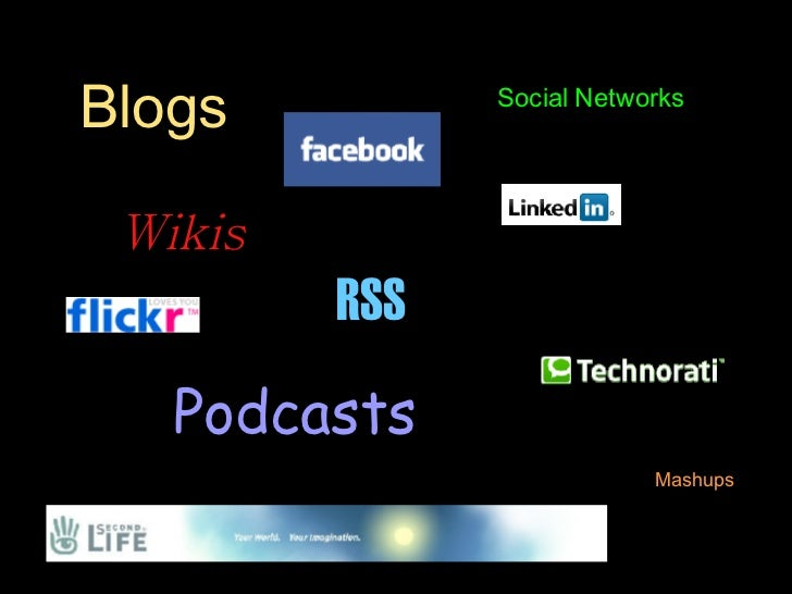 Blogs Wikis Podcasts RSS Mashups Social Networks