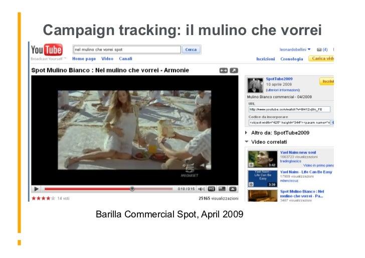 Campaign tracking: il mulino che vorrei Nel mulino che vorrei..            Barilla Commercial Spot, April 2009