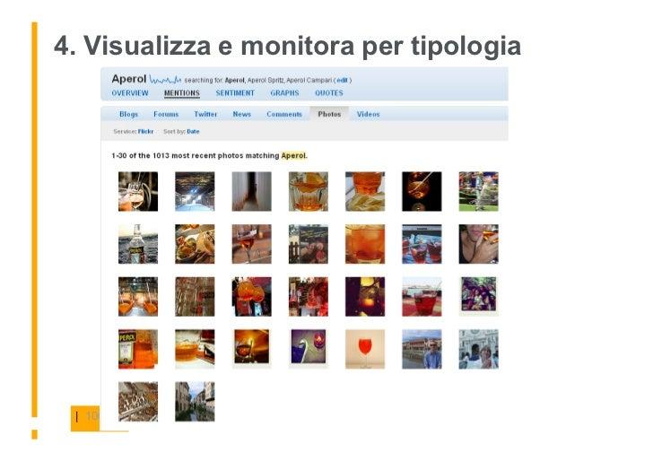 4. Visualizza e monitora per tipologia      | 100