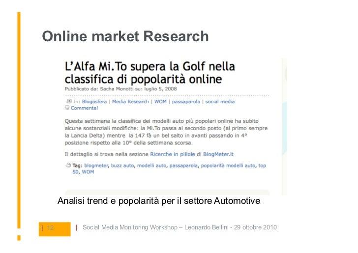 Online market Research            Analisi trend e popolarità per il settore Automotive  | 12       | Social Media Monitori...