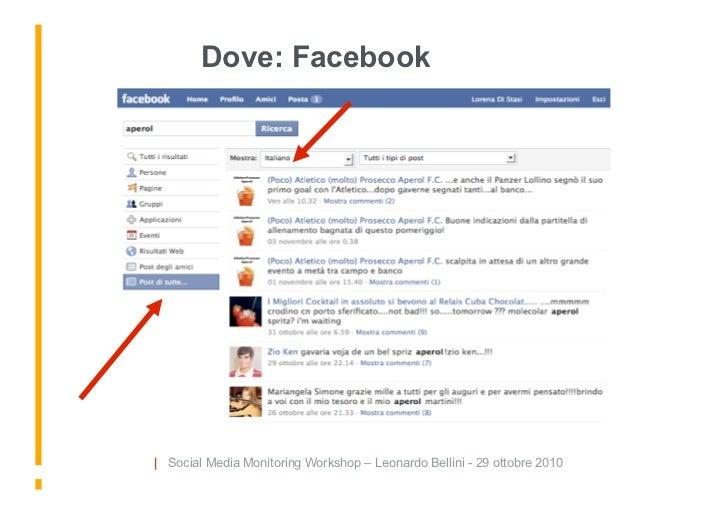 Dove: Facebook     | Social Media Monitoring Workshop – Leonardo Bellini - 29 ottobre 2010