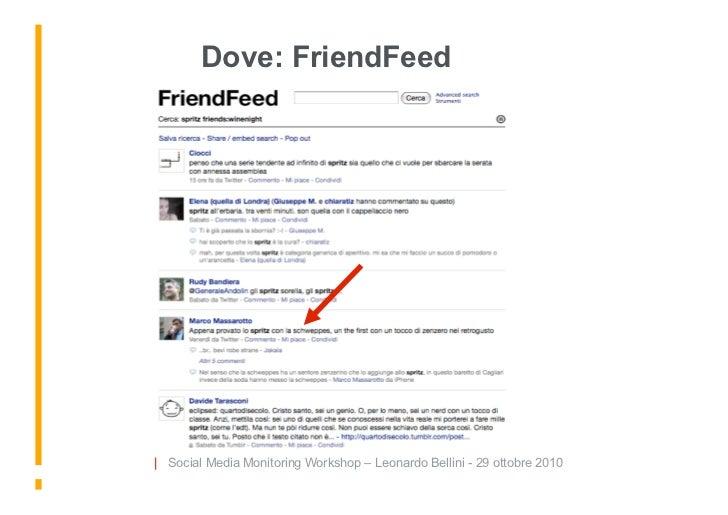 Dove: FriendFeed     | Social Media Monitoring Workshop – Leonardo Bellini - 29 ottobre 2010