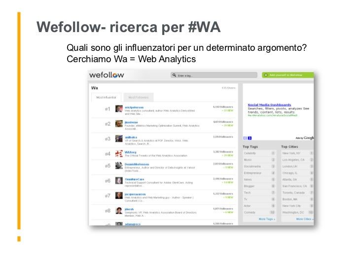 Wefollow- ricerca per #WA     Quali sono gli influenzatori per un determinato argomento?     Cerchiamo Wa = Web Analytics