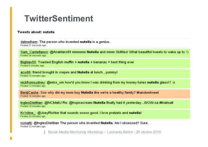 TwitterSentiment         | Social Media Monitoring Workshop – Leonardo Bellini - 29 ottobre 2010