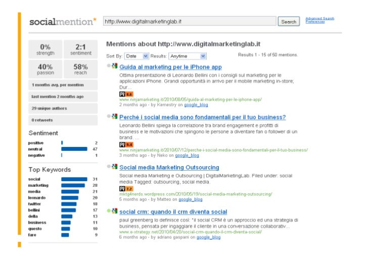 Social Mention -         | Social Media Monitoring Workshop – Leonardo Bellini - 29 ottobre 2010