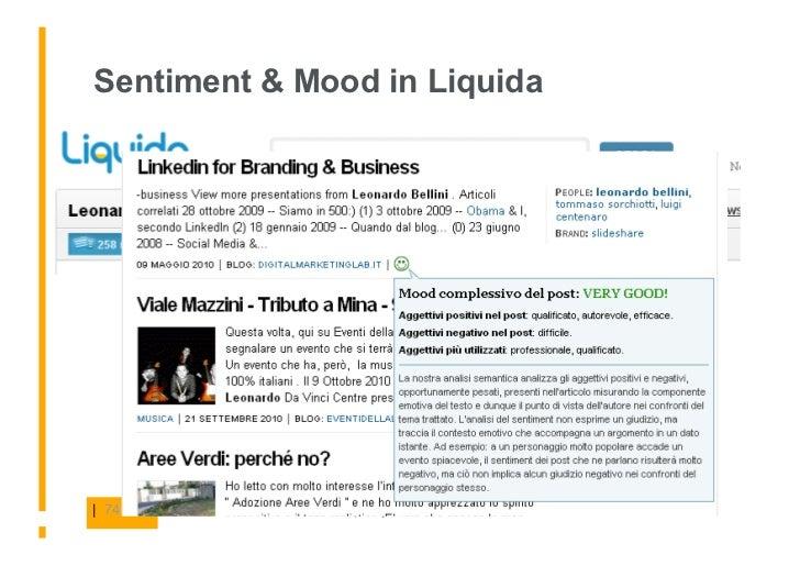 Sentiment & Mood in Liquida     | 74   | Social Media and Online PR Report |