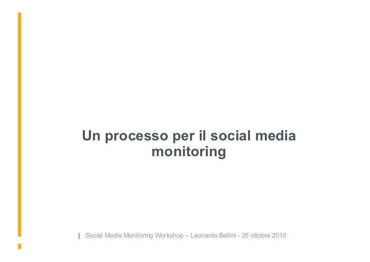 Un processo per il social media           monitoring     | Social Media Monitoring Workshop – Leonardo Bellini - 29 ottobr...