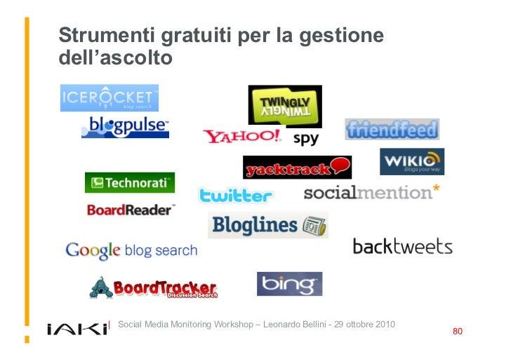 Strumenti gratuiti per la gestione dell'ascolto          | Social Media Monitoring Workshop – Leonardo Bellini - 29 ottobr...