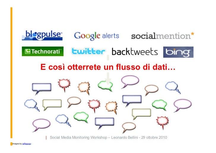 E così otterrete un flusso di dati…                            | Social Media Monitoring Workshop – Leonardo Bellini - 29 ...