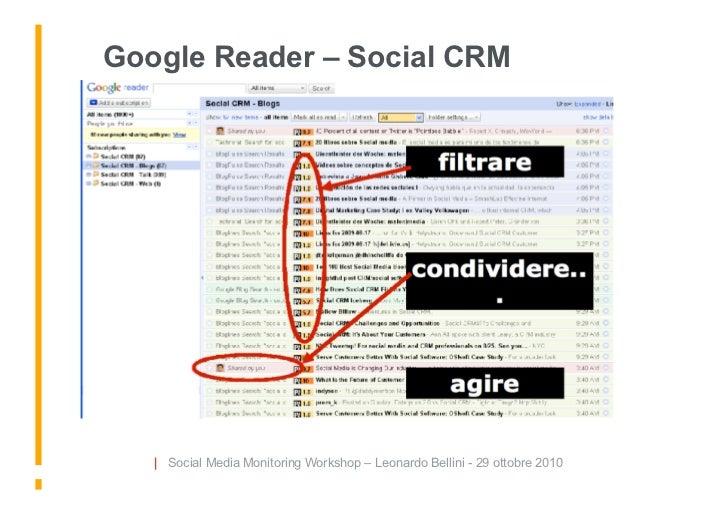 Google Reader – Social CRM        | Social Media Monitoring Workshop – Leonardo Bellini - 29 ottobre 2010