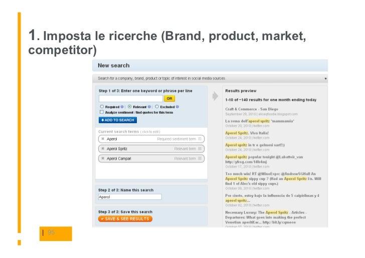 1. Imposta le ricerche (Brand, product, market, competitor)       | 95