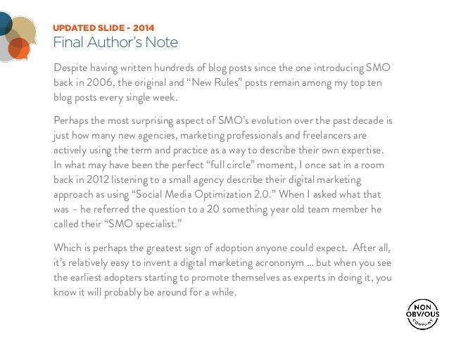UPDATED SLIDE - 2014 Final Author's Note Despite having written hundreds of blog posts since the one introducing SMO back ...
