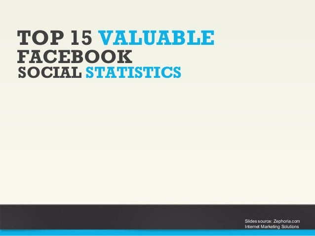 TOP 15 VALUABLE SOCIAL STATISTICS FACEBOOK Slides source: Zephoria.com Internet Marketing Solutions