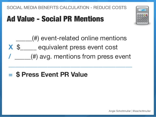 SOCIAL MEDIA BENEFITS CALCULATION - REDUCE COSTSAd Value - Social PR Mentions  _____(#) event-related online mentions X $_...