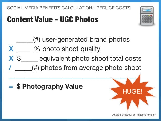 SOCIAL MEDIA BENEFITS CALCULATION - REDUCE COSTSContent Value - UGC Photos  _____(#) user-generated brand photosX _____% p...