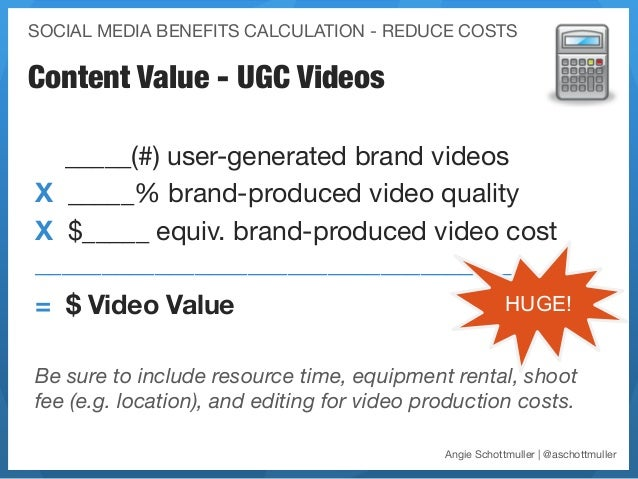 SOCIAL MEDIA BENEFITS CALCULATION - REDUCE COSTSContent Value - UGC Videos  _____(#) user-generated brand videos X _____% ...