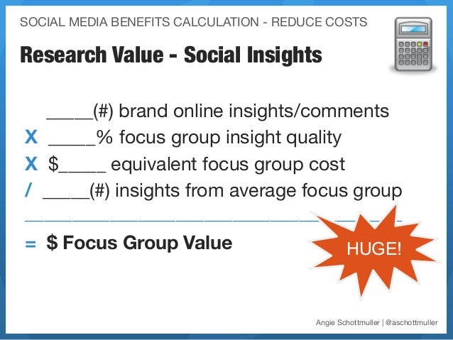 SOCIAL MEDIA BENEFITS CALCULATION - REDUCE COSTSResearch Value - Social Insights  _____(#) brand online insights/commentsX...