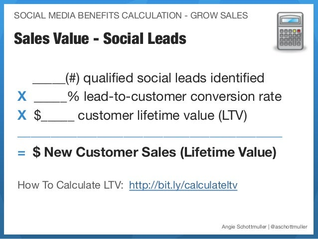 SOCIAL MEDIA BENEFITS CALCULATION - GROW SALESSales Value - Social Leads  _____(#) qualified social leads identifiedX _____%...