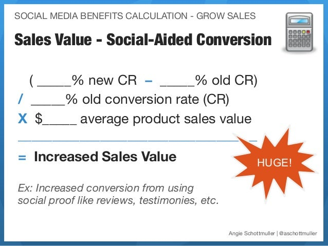 SOCIAL MEDIA BENEFITS CALCULATION - GROW SALESSales Value - Social-Aided Conversion  ( _____% new CR − _____% old CR)/ ___...