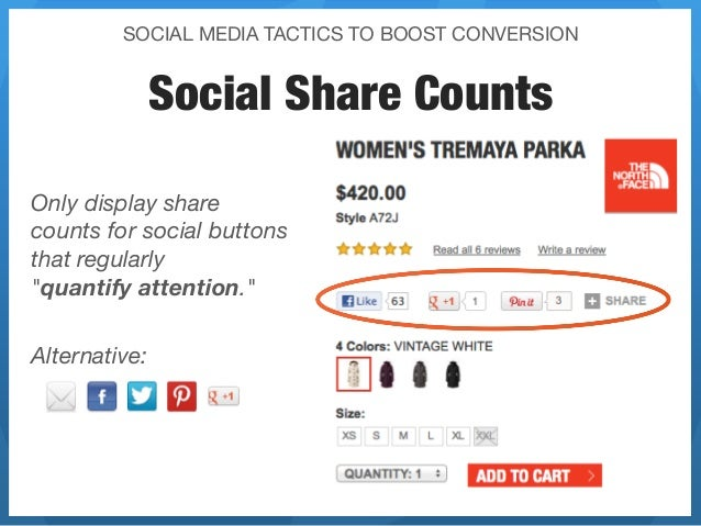 SOCIAL MEDIA TACTICS TO BOOST CONVERSION           Social Share CountsOnly display sharecounts for social buttonsthat regu...