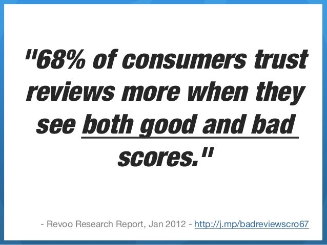 """""""68% of consumers trustreviews more when they see both good and bad        scores.""""  - Revoo Research Report, Jan 2012 - h..."""