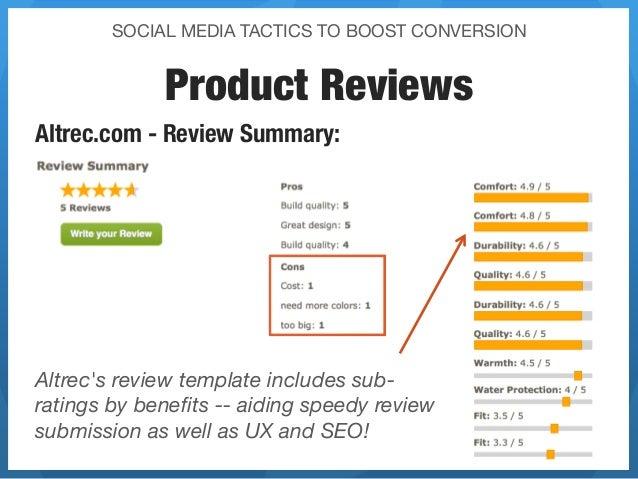 SOCIAL MEDIA TACTICS TO BOOST CONVERSION             Product ReviewsAltrec.com - Review Summary: Altrecs review template i...