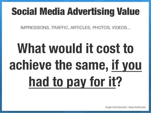 Social Media Advertising Value      IMPRESSIONS, TRAFFIC, ARTICLES, PHOTOS, VIDEOS... What would it cost toachieve the sam...