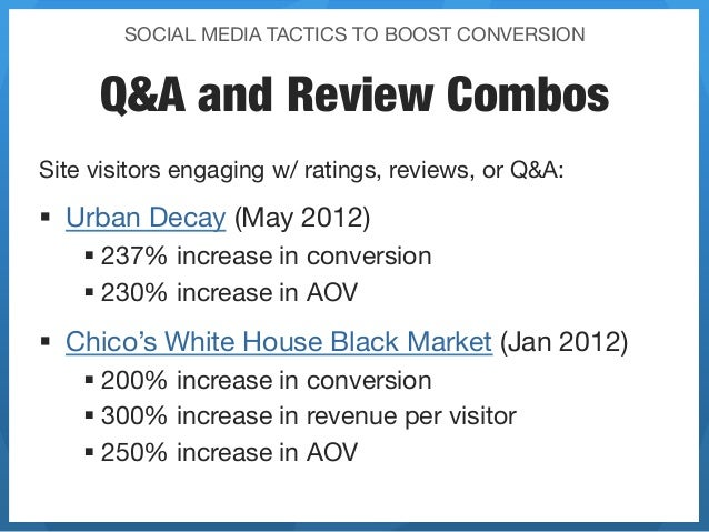 SOCIAL MEDIA TACTICS TO BOOST CONVERSION     Q&A and Review CombosSite visitors engaging w/ ratings, reviews, or Q&A:§ U...