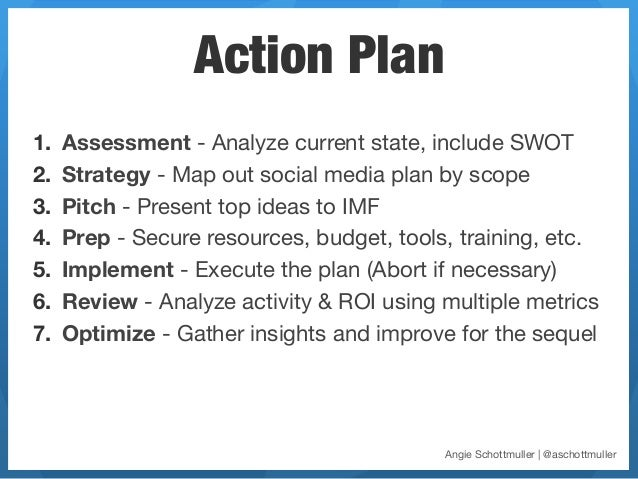 Action Plan1.   Assessment - Analyze current state, include SWOT2.   Strategy - Map out social media plan by scope3.   ...