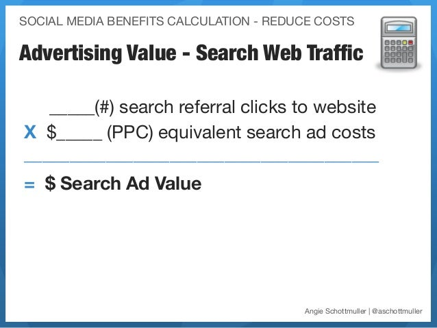 SOCIAL MEDIA BENEFITS CALCULATION - REDUCE COSTSAdvertising Value - Search Web Traffic   _____(#) search referral clicks to...