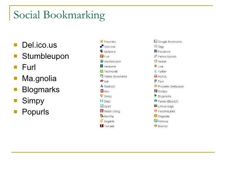 Social Bookmarking <ul><li>Del.ico.us </li></ul><ul><li>Stumbleupon </li></ul><ul><li>Furl </li></ul><ul><li>Ma.gnolia </l...