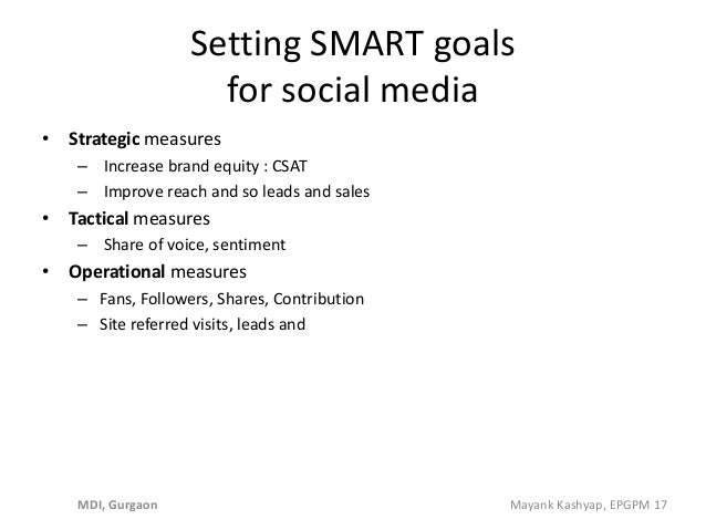 Setting SMART goals for social media • Strategic measures – Increase brand equity : CSAT – Improve reach and so leads and ...