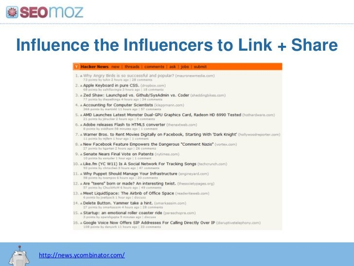 Influence the Influencers to Link + Share<br />http://news.ycombinator.com/<br />