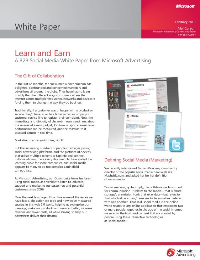 White Paper Learn and Earn A B2B Social Media White Paper from Microsoft Advertising The Gift of Collaboration In the last...
