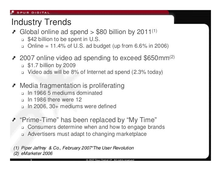 Industry Trends   Global online ad spend > $80 billion by 2011(1)       $42 billion to be spent in U.S.       Online = 11....