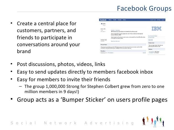 <ul><li>Post discussions, photos, videos, links </li></ul><ul><li>Easy to send updates directly to members facebook inbox ...