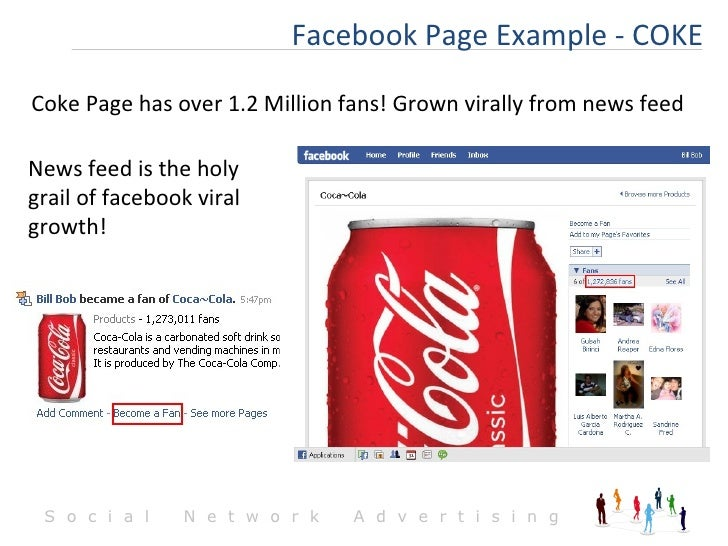 Facebook Page Example - COKE Coke Page has over 1.2 Million fans! Grown virally from news feed News feed is the holy grail...