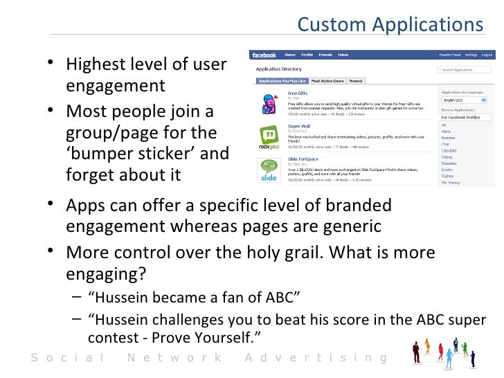 <ul><li>Apps can offer a specific level of branded engagement whereas pages are generic </li></ul><ul><li>More control ove...