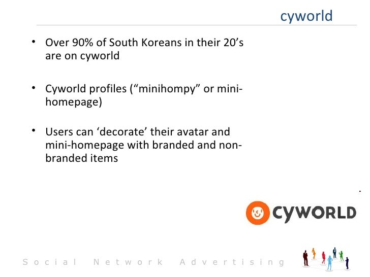 "cyworld <ul><li>Over 90% of South Koreans in their 20's are on cyworld </li></ul><ul><li>Cyworld profiles (""minihompy"" or ..."