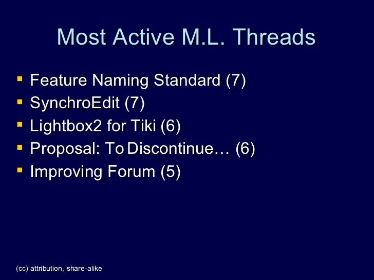 Most Active M.L. Threads    Feature Naming Standard (7)    SynchroEdit (7)    Lightbox2 for Tiki (6)    Proposal: To D...