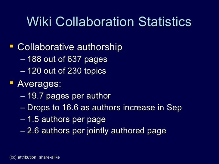 Wiki Collaboration Statistics  Collaborative authorship       – 188 out of 637 pages       – 120 out of 230 topics  Aver...