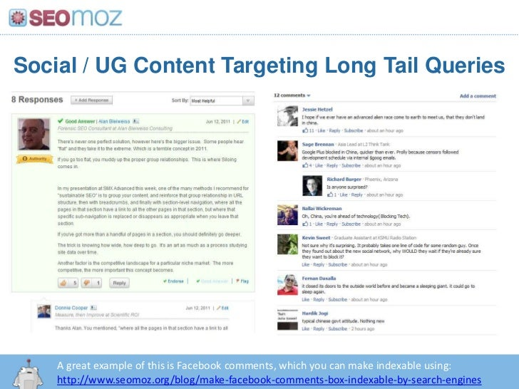 ... Social / UG Content Targeting Long Tail QueriesA great example of ...