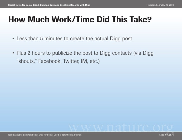 Social News for Social Good: Building Buzz and Breaking Records with Digg   Tuesday, February 26, 2008     How Much Work/T...